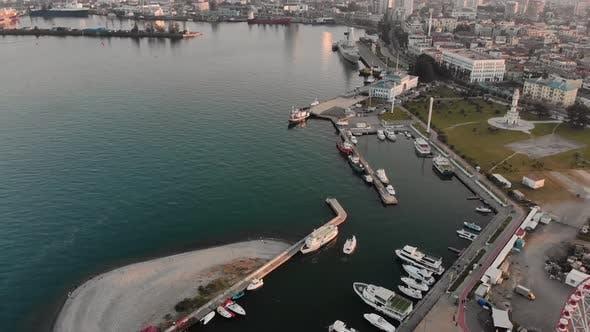 Batumi Port With City Panorama In Caucasus Mountains