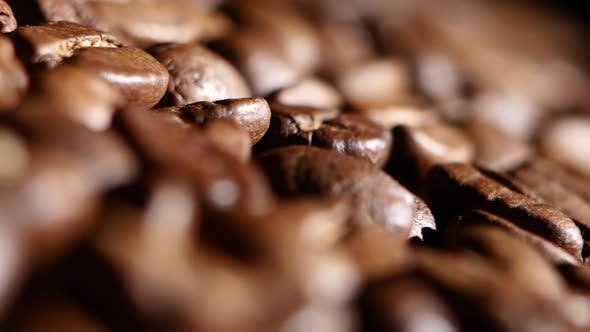 Thumbnail for Aromatic Roasted Coffee Beans. Close Up. Rotsting