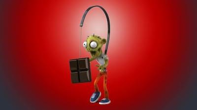 Fun 3D cartoon Zombie after chocolate