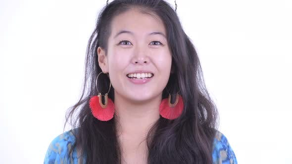 Cover Image for Face of Happy Beautiful Asian Tourist Woman Smiling and Ready for Vacation