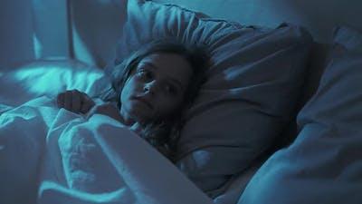 Kid Fear Night Terror Frightened Girl in Bed Dark