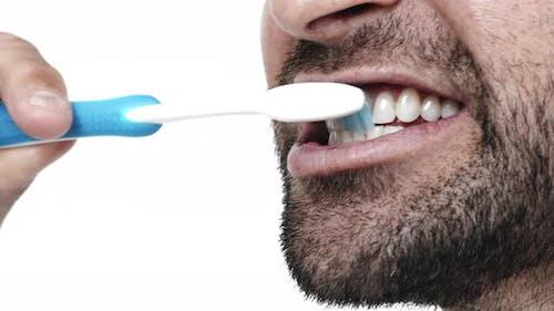 Stubble Guy Brushing Teeth