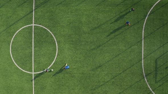 Cover Image for Drone View of Skillful Soccer Forward Scoring Goal