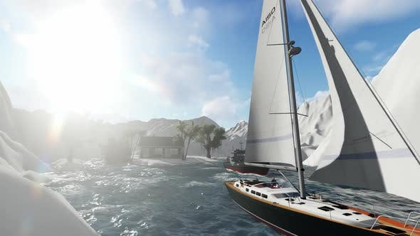 Thumbnail for Sail between icebergs during the day