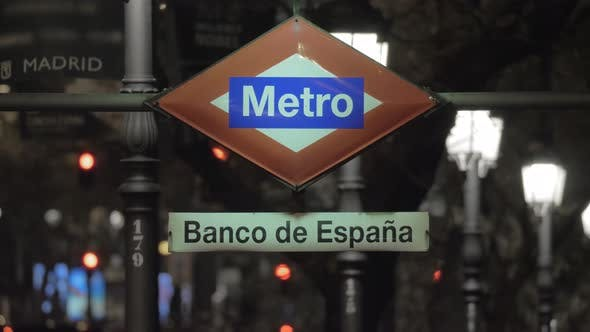 Thumbnail for Night View of Banco De Espana Metro Sign in Madrid, Spain