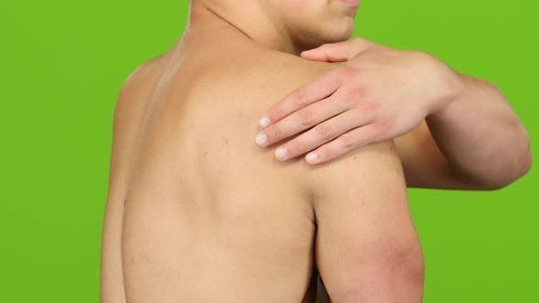 Thumbnail for Man Suffering From Having Cramps in Shoulder, Severe Pain. Closeup
