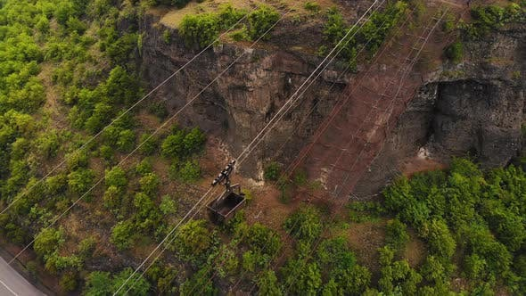 Bucket Pulled On Cable System In Minning Area, Caucasus