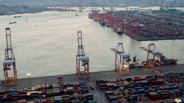 Thumbnail for Timelapse Cranes and Ships in Busan Cargo Port in Morning
