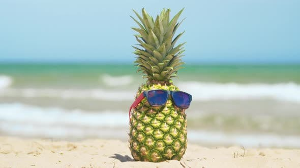 Thumbnail for Cheerful Pineapple in the Sunglasses on Vacation on the Sea