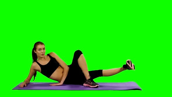 Thumbnail for Fit Woman Doing Yoga Mat at Gym, Green Screen