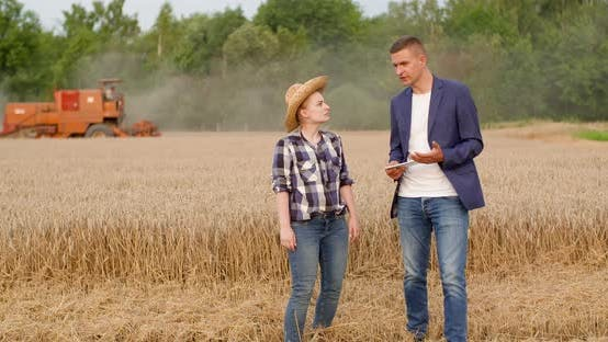 Thumbnail for Agriculture - Farmer Talking with Businessman at Harvesting
