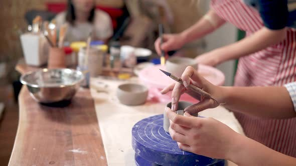 Creative Class with Beginner Potters.