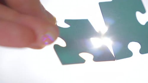 Two Pieces of Puzzle Are Interconnected. Problem Solution Concept. Relationships Concept. Successful