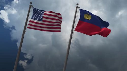 Waving Flags Of The United States And The Liechtenstein 4K