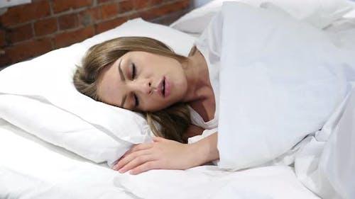 Nightmare, Sleeping Woman Awakes by Scary Dream