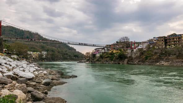 Thumbnail for Dusk time lapse at Rishikesh, holy town and travel destination in India