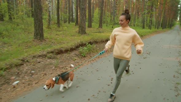 Thumbnail for Young Sporty Woman Jogging with Dog in Morning