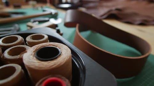 Spools of Thread in Workshop