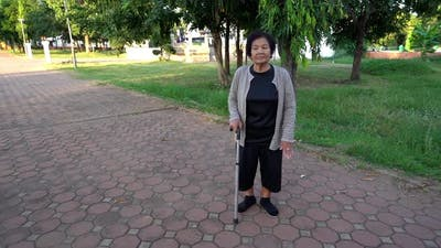 senior woman exercise in the park