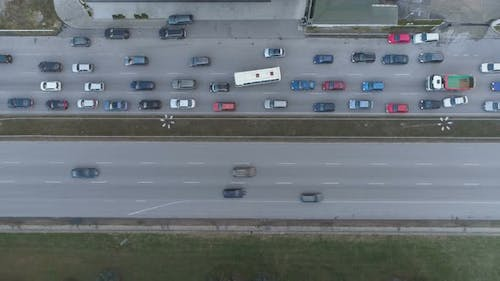 Traffic Jam Top View, Automobile Traffic and Jam of Many Cars, Transportation Concept.