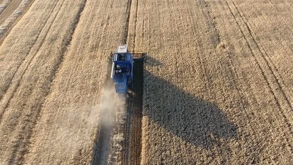 Thumbnail for Aerial Shot of a Modern Combine Harvesting Crops in Wheat Farmland at Sunset