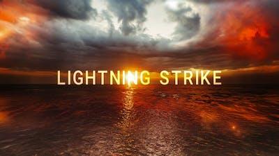 Lightning Strike In A Cloud Over The Ocean