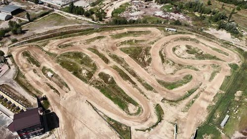 View from drone of professional enduro motorcycle racetrack.