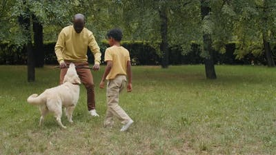 Afro Family Playing with Dog in Park