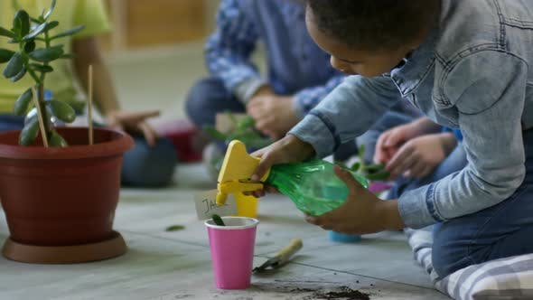 Kids Spaying Plants with Water in Kindergarten