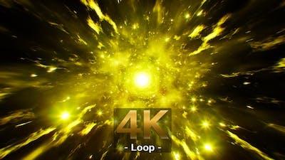 Glittering Yellow Energy Scatter Effect 4K