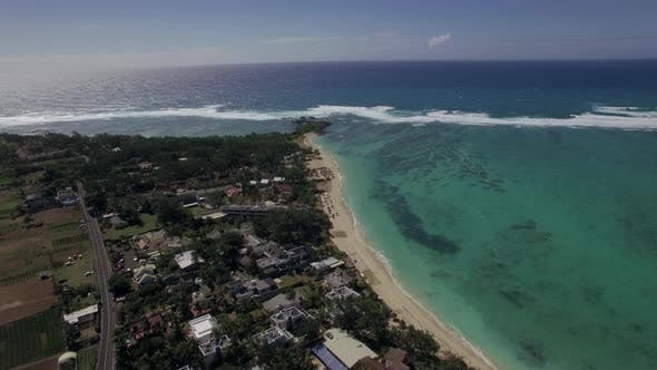 Aerial Bird Eye View of Coast with Sand Beach and Transparent Water of Indian Ocean, Mauriticus