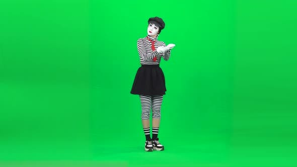 Thumbnail for Mime Girl Acting Like She Postwoman. Chroma Key. Full Length.