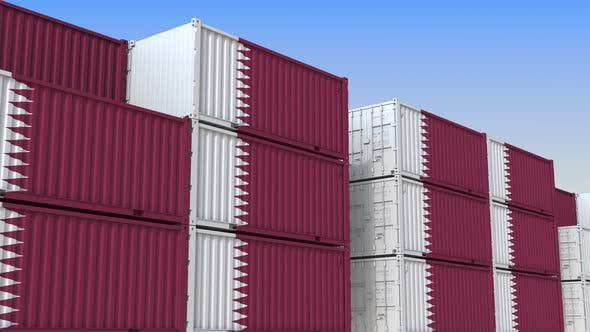 Thumbnail for Container Yard Full of Containers with Flag of Qatar
