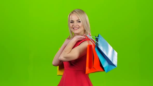 Thumbnail for Happy Shopping Woman Excited and Cheerful. Green Screen Studio