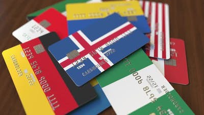 Emphasized Bank Card with Flag of Iceland