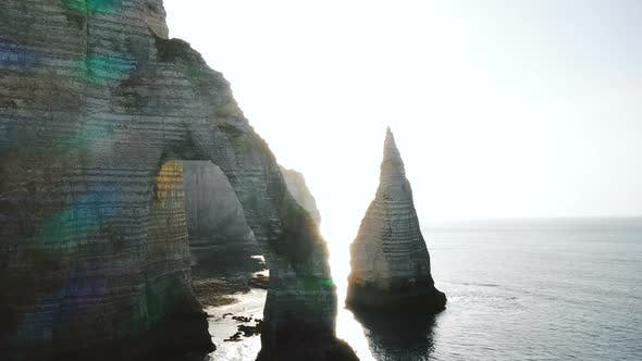 Cover Image for Beautiful Backlight Drone Panorama, Giant Natural Eroded Rock Arch and Pillar at Famous White Sea
