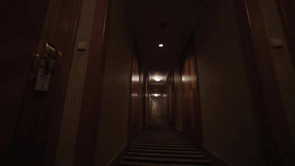 Thumbnail for Clip of Going Along the Hotel Corridor To Lighted Exit Sign