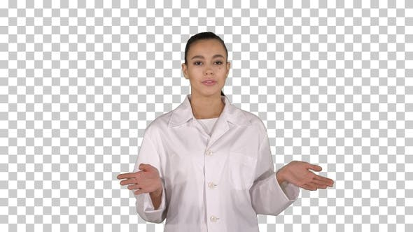 Thumbnail for Attractive Doctor Pointing to The Side Presenting Product Alpha