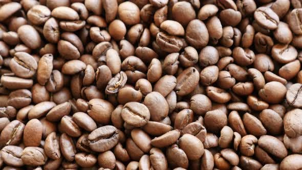 Lot of Arabica type coffee beans roasted and arranged slow tilt 4K 2160p 30fps UHD footage - High qu