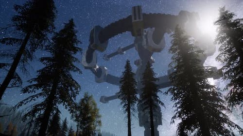 UFO Hovering Over Forest