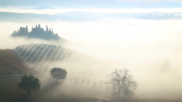 Thumbnail for Morning Mist over the Fields and Vineyards