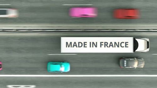 Semitrailer Trucks with MADE IN FRANCE Text