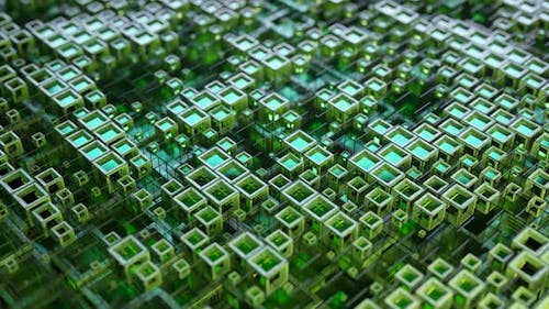 Colorful Glass Rows of Cubes