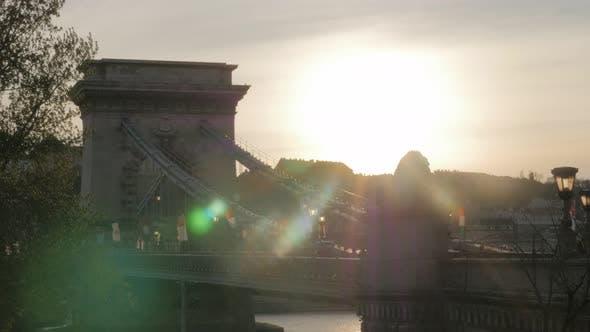 Thumbnail for Chain Szechenyi  Bridge sunset scene on river Danube city of Budapest  4K 2160p UltraHD footage - Fa