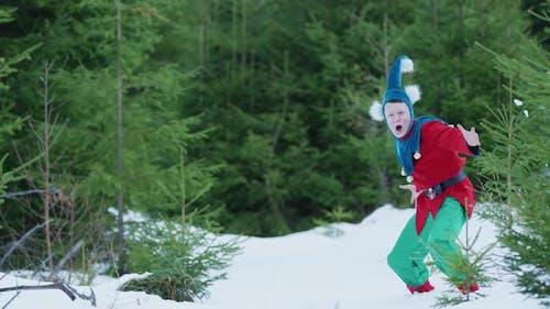 Enthusiastic Christmas elf