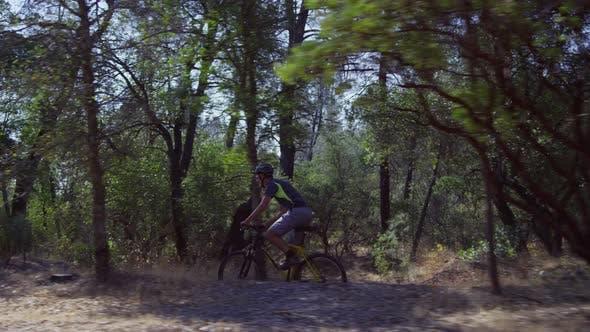 Thumbnail for Tracking shot of man riding mountain bike in nature