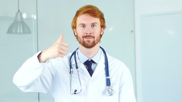 Thumbnail for Portrait of Thumbs Up by Doctor in Clinic