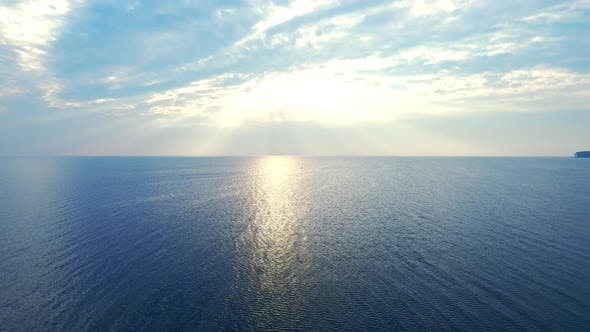 Thumbnail for Amazing View Sunlight Reflecting on Sea Surface. Drone View Blue Sea on Skyline