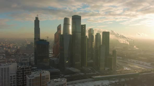 Thumbnail for Skyscrapers of Moscow City Business Center and Urban Skyline in Sunny Winter Morning