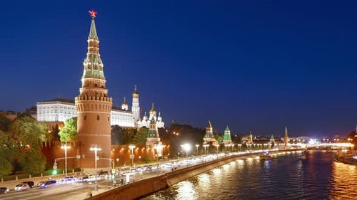 Night Hyper Lapse of Moscow Kremlin